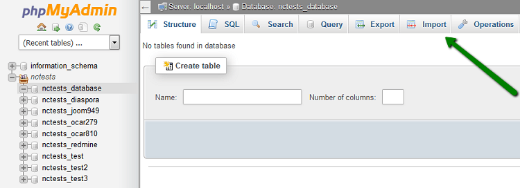 Import your database