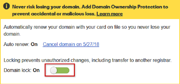 Request for a Domain Unlock