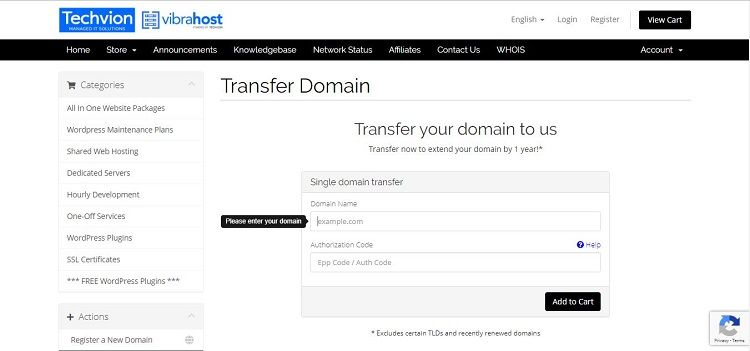 transfer a domain name