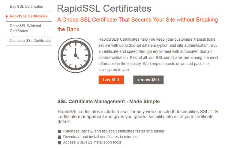 Best SSL certificates for e-commerce website - RapidSSL