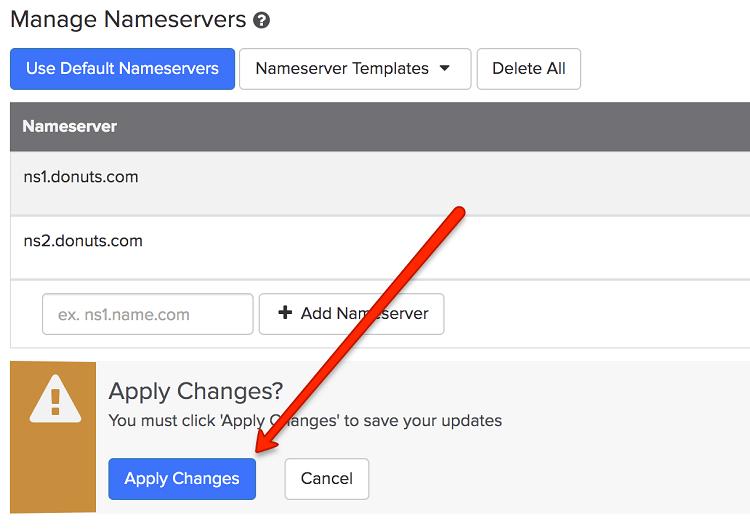 Apply New Nameserver Values