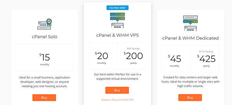 cPanel old price structure