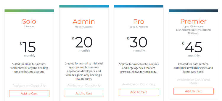 cPanel New Price Structure