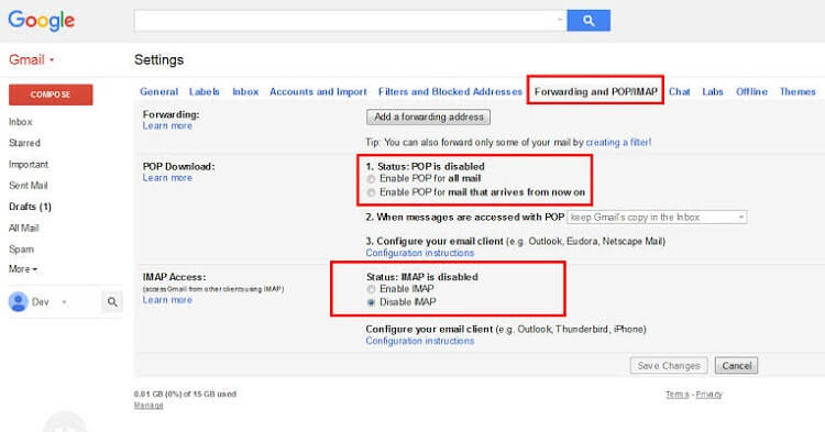 How to Activate POP and IMAP?