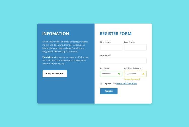 Register form of a website