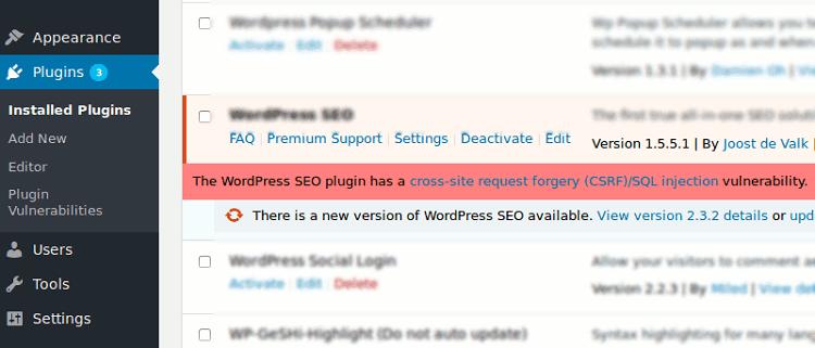 Check Plugin Security Notification